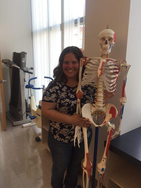 Jennifer with a skeleton