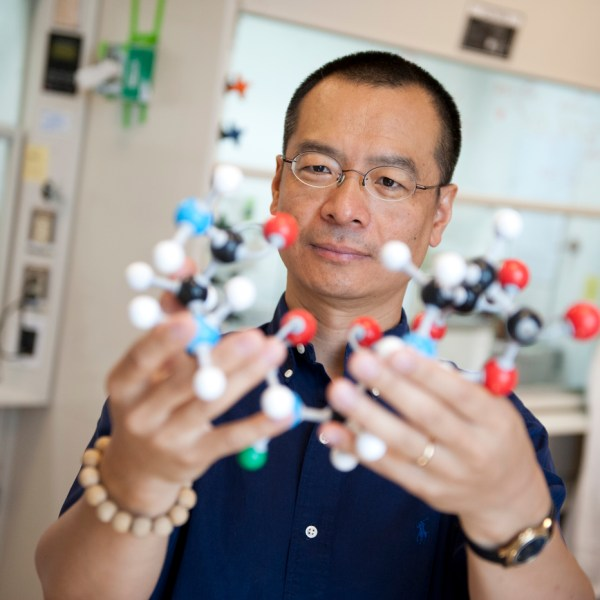 Sunny Zhou in his lab with molecular models.