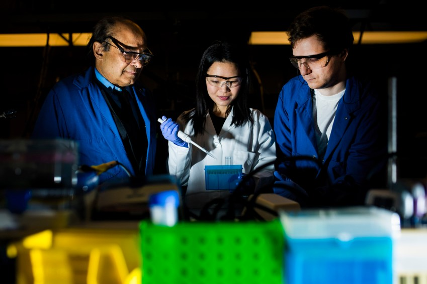 Ju Qiao is holding a pipette while flanked by Sri Sridhar and Liam Timms in a darkened lab.