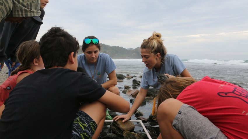 Alexandra Doudera, second from the right, founded Saltwater Classroom, a nonprofit that teaches middle school students around the world about the importance of protecting our oceans. Photo courtesy of Alexandra Doudera.
