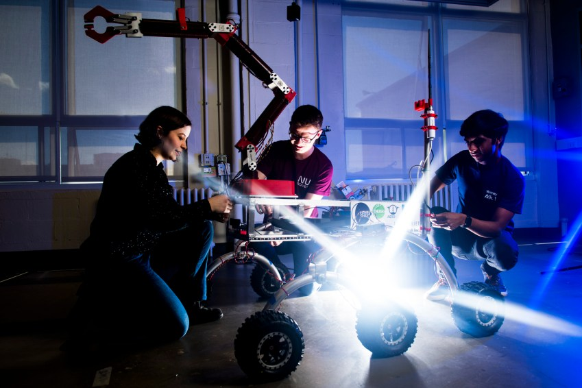 05/8/19 - BOSTON, MA. - Northeastern's Mars Rover Team has been designing, building, and testing a prototype mars rover for the University Rover Challenge sponsored by the Mars Society. The team works on the rover in Richards Hall on May 8, 2019. Photo by Adam Glanzman/Northeastern University