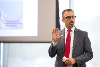 Michael Pollastri, Interim Dean and Professor, College of Science, speaks during the Saving Patient Lives: The Role of Biomanufacturing and Bioanalytics symposium held in Building V on NortheasternÕs Innovation Campus in Burlington, Massachusetts on Sept. 10, 2019. Photo by Matthew Modoono/Northeastern University