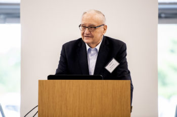 Barry Karger, Founding Director of the Barnett Institute, speaks during the Saving Patient Lives: The Role of Biomanufacturing and Bioanalytics symposium held in Building V on NortheasternÕs Innovation Campus in Burlington, Massachusetts on Sept. 10, 2019. Photo by Matthew Modoono/Northeastern University