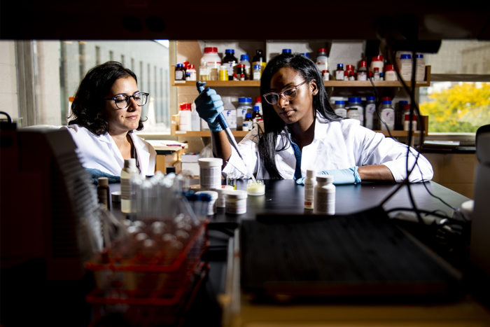 Leila Deravi, assistant professor of chemistry and chemical biology, and PhD student Camille Martin conduct research on a sun-blocking chemical in Hurtig Hall. Photo by Ruby Wallau/Northeastern University