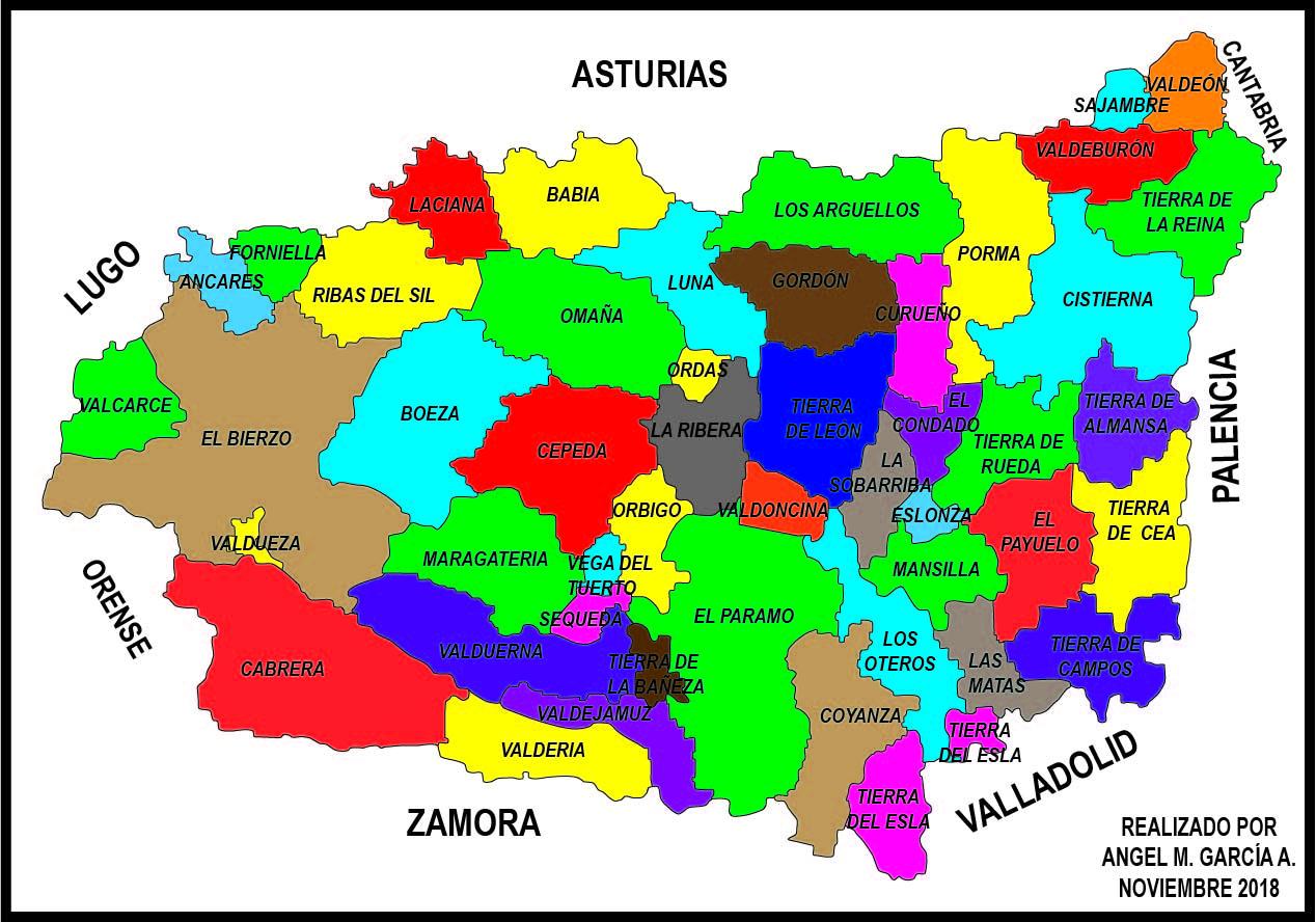 Mapas Comarcales De La Provincia De Leon Con Todas Sus Comarcas