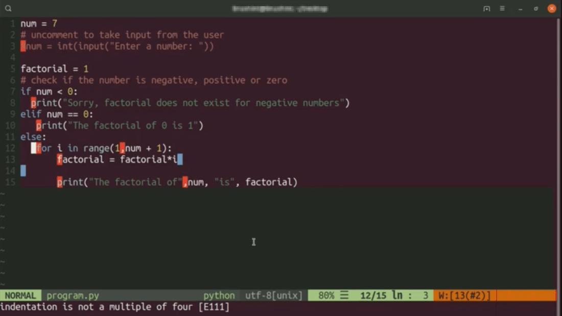 Programando en Python con ayuda de Vim