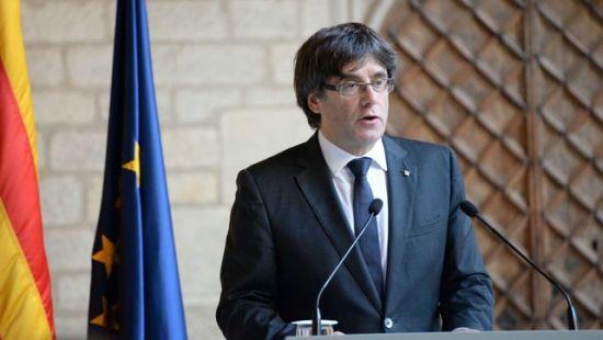 Carles Puigdemont durante su comparecencia en el Palau de la Generalitat
