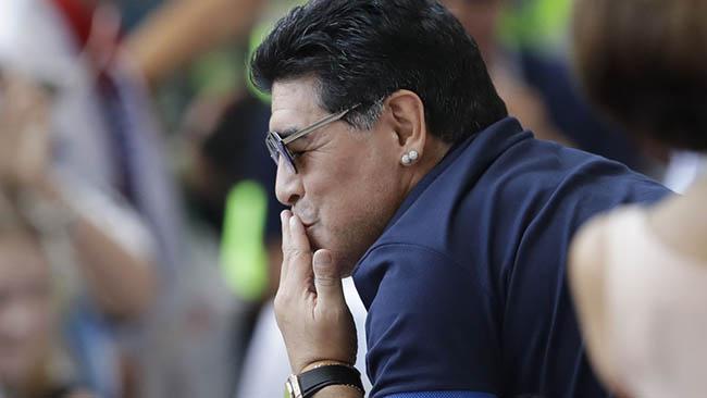 Diego Armando Maradona en la Copa del Mundo de Rusia, en 2018, en el Kazan Arena Sergei Grits / AP Photo