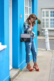 EJSTYLE-Emma-Hill-Wears-Chloe-Drew-dupe-bag-Warehouse-navy-blue-paisley-shirt-ASOS-boyfriend-jeans-River-Island-sunglasses-Jessica-Buurman-pom-pom-Aquazzura-wild-thing-red-suede-dupes-OOTD