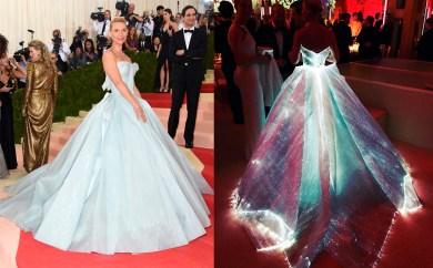 Claire Danes con un vestido tipo Cenicienta al que Zac Posen ha colocado fibra óptica.