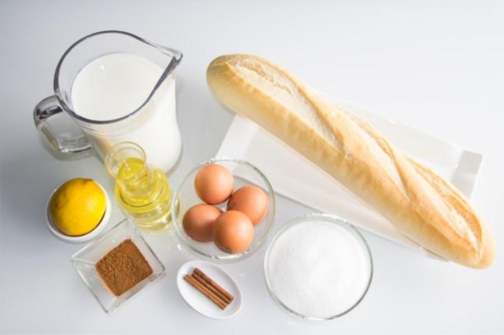 Ingredientes para preparar las tradicionales torrijas