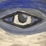 Painting of an eye surrounded by blue and gray