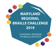 logo for Maryland School for the Blind Braille Challenge, a national program of Braille Institute