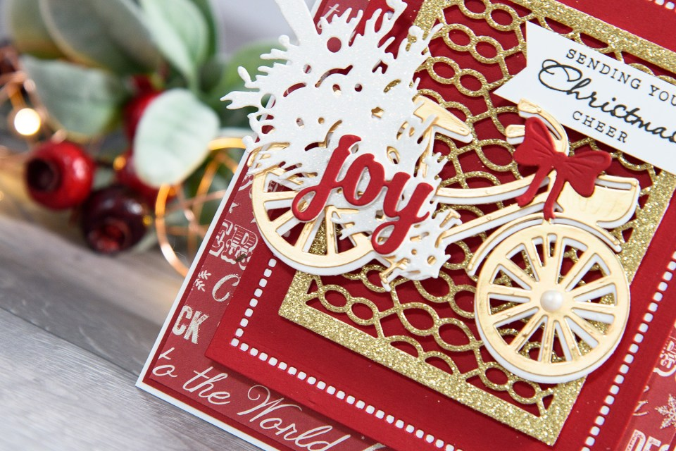 Layered Dimensional Die Cutting. Episode #4 - Christmas Bicycle Card by Yana Smakula for Spellbinders
