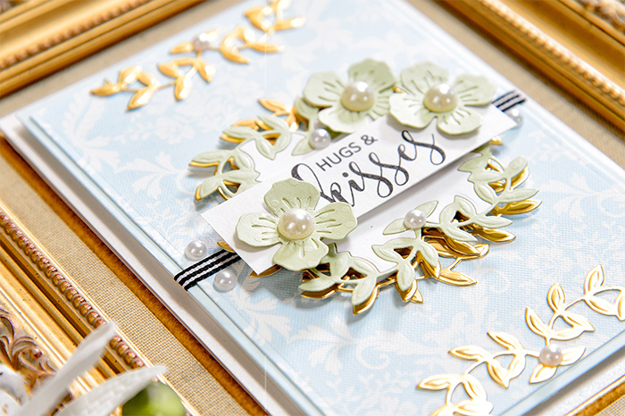 Inlaid Die-Cutting: Hugs & Kisses with Border Flowers by Yana Smakula Pic 6