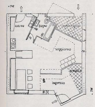 Pianta primo piano Casa Minima Pizzigoni