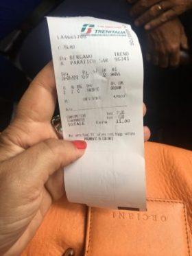 Scontrino biglietto acquistato sul TrenoBlu