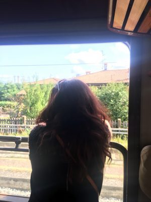 Affacciata al finestrino del treno