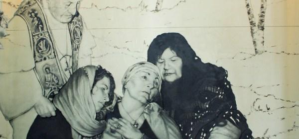 Madonna sorretta dalla Maddalena e da Maria di Cleofa e accarezzata da Papa Giovanni XXIII
