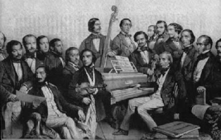 Alfredo Piatti appoggiato al fortepiano
