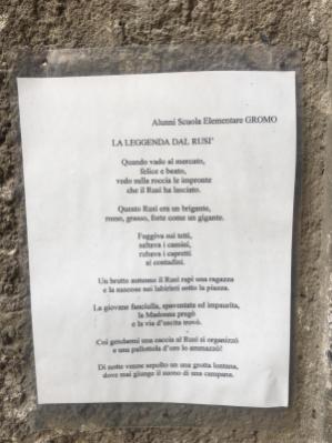 Poesia dedicata alla leggenda del Rusì di Gromo