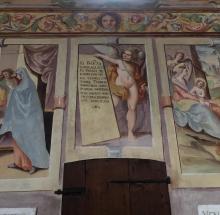 14 cartiglio in latino dedicato ai committenti degli affreschi