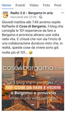 Post Facebook su intervista a Cose di Bergamo
