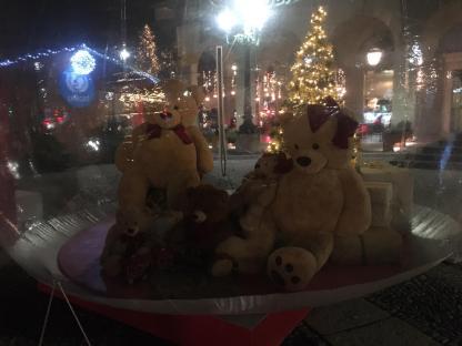 famiglia di orsi nella bolla di cristallo in centro a Bergamo