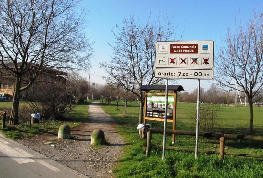 Ingresso della Ciclovia Oasi Verde nel Parco del Serio