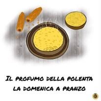 un piatto di polenta fumante disegnata