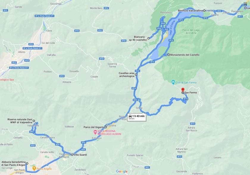 Mappa delle 15 cose da fare in Val Cavallina in autunno