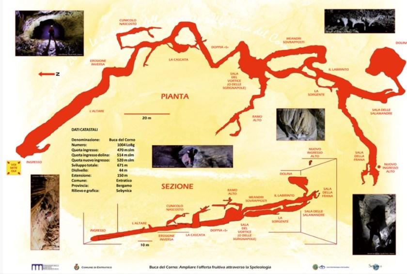 Mappa della Buca del Corno di Entratico