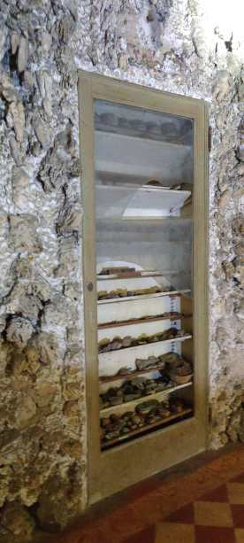vetrina per le pietre e i fossili