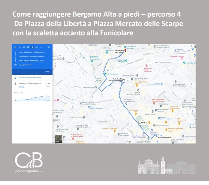 Come raggiungere Bergamo Alta a piedi - percorso 4 e mappa