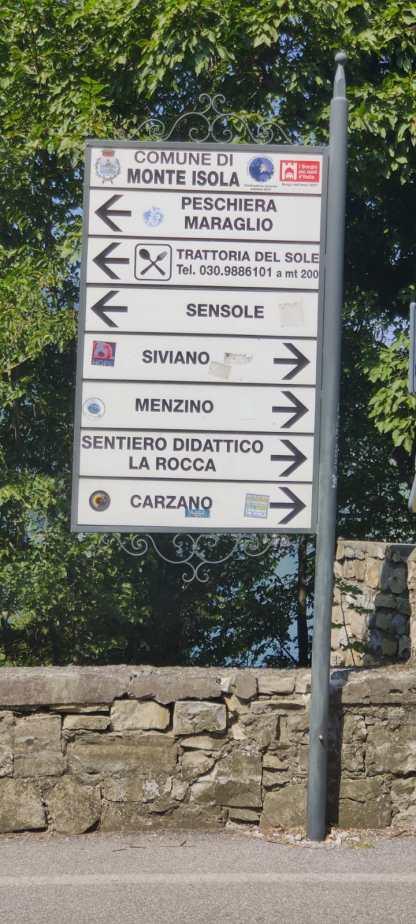Monte Isola in bicicletta - indicazioni stradali