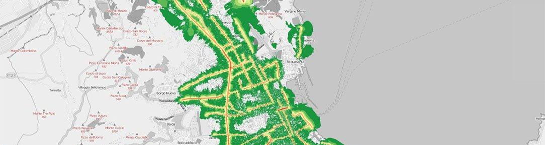 Mappa inquinamento acustico diurno veicolare della Palermo - Qgis Leaflet