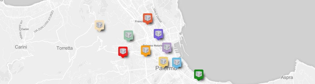 Mappa stazioni di monitoraggio polveri sottili Palermo