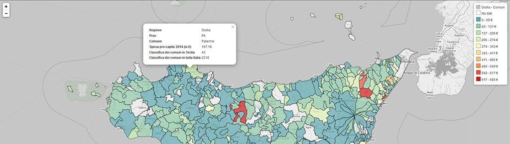 Mappa Sicilia soldi spesi dai comune nel 2014