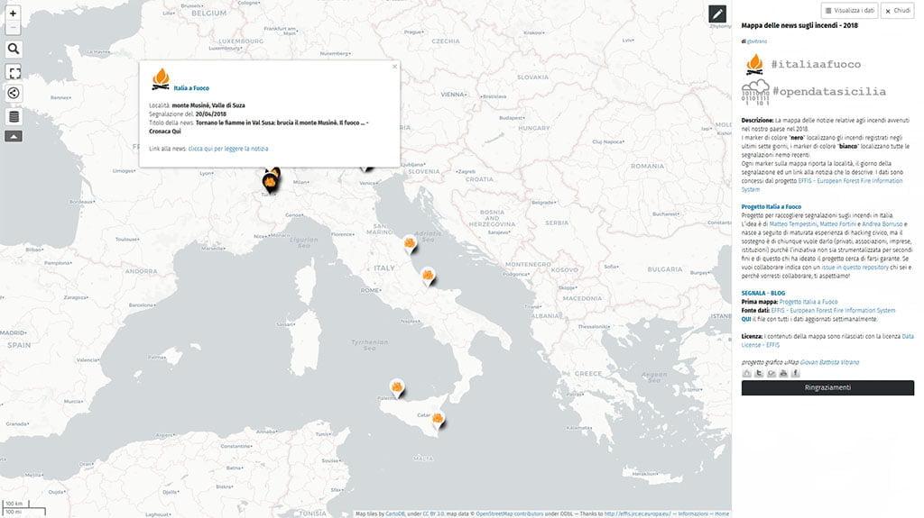 Italia – Mappa news incendi registrati nel 2018