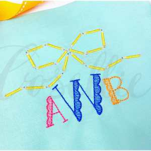 Pencil bow embroidery design, Pencils, Bow, Name frame, Font frame, Crayons, Vintage crayons, Back to school, Vintage stitch embroidery design, Applique, Machine embroidery design, Blanket stitch, Beanstitch, Vintage, Classic