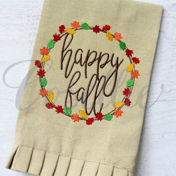 Fall leaves circle frame embroidery design, Simple applique, Fall leaves, Name frame, Font frame, Monogram frame, Fall, Pumpkin, Crow, Thanksgiving embroidery design, Vintage stitch embroidery design, Applique, Machine embroidery design, Blanket stitch, Beanstitch, Vintage, Classic, Sketch