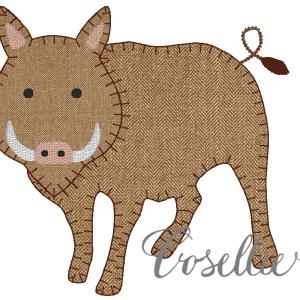 Razorback embroidery design, Football, Wild pig, Arkansas, Pig, Vintage stitch embroidery design, Applique, Machine embroidery design, Blanket stitch, Beanstitch, Vintage