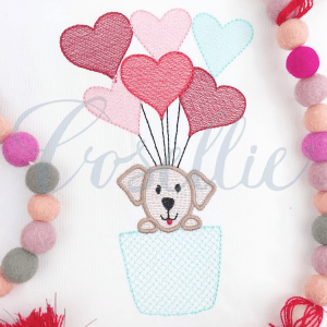 Hot air balloon Valentines dog embroidery design, Valentines hot air balloon, Vintage valentines, Dog, Hearts, Balloon, Hot air balloon, Vintage stitch embroidery design, Applique, Machine embroidery design, Blanket stitch, Beanstitch, Vintage