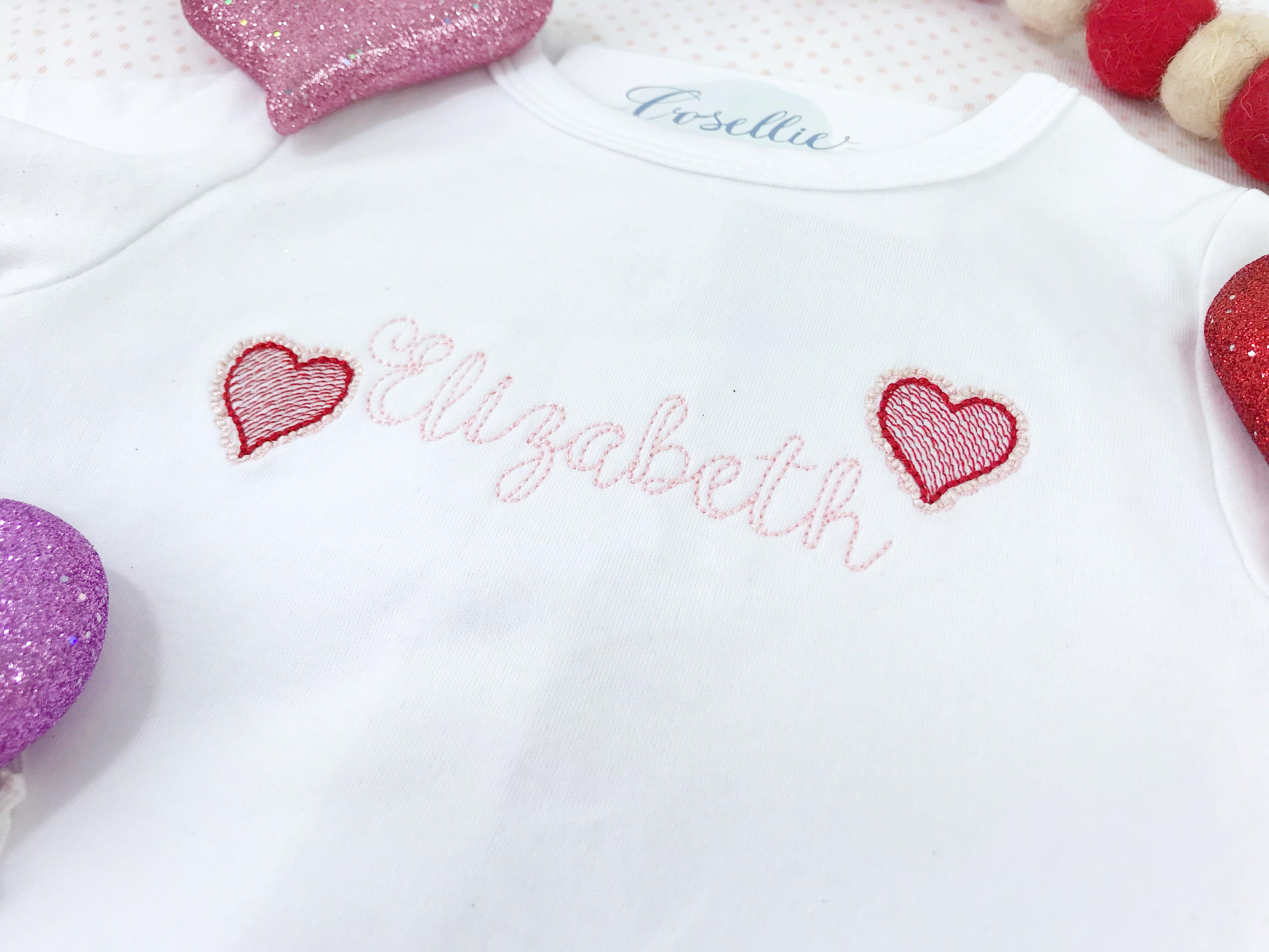 Mini scallop heart embroidery design embroidery design cosellie
