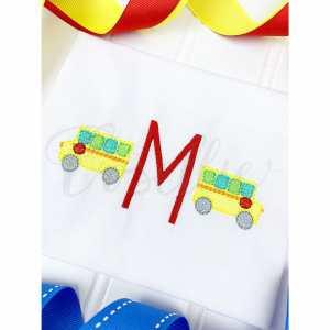 Mini school bus embroidery design, Bus, Apple, School bus, apple, crayons, Back to school embroidery design, Vintage stitch embroidery design, Applique, Machine embroidery design, Blanket stitch, Beanstitch, Vintage, Classic