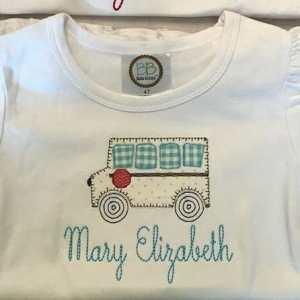 School bus embroidery design, School bus, apple, crayons, Back to school embroidery design, Vintage stitch embroidery design, Applique, Machine embroidery design, Blanket stitch, Beanstitch, Vintage, Classic