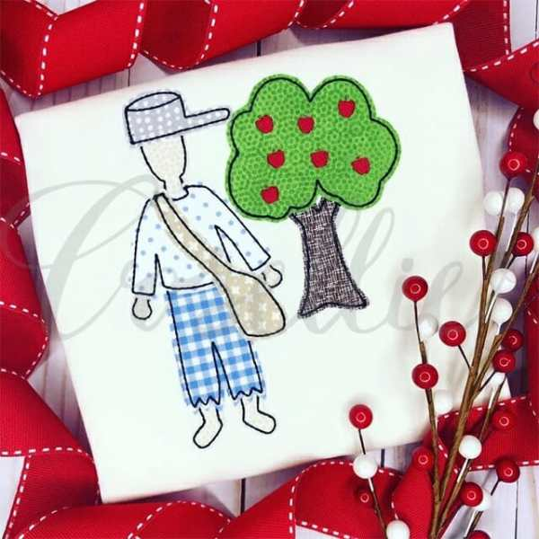 Johnny Appleseed applique embroidery design, Johnny Appleseed, Apple, Apple tree, Tree, Apples, Mini, Vintage stitch embroidery design, Applique, Machine embroidery design, Blanket stitch, Beanstitch, Vintage, Classic, Sketch