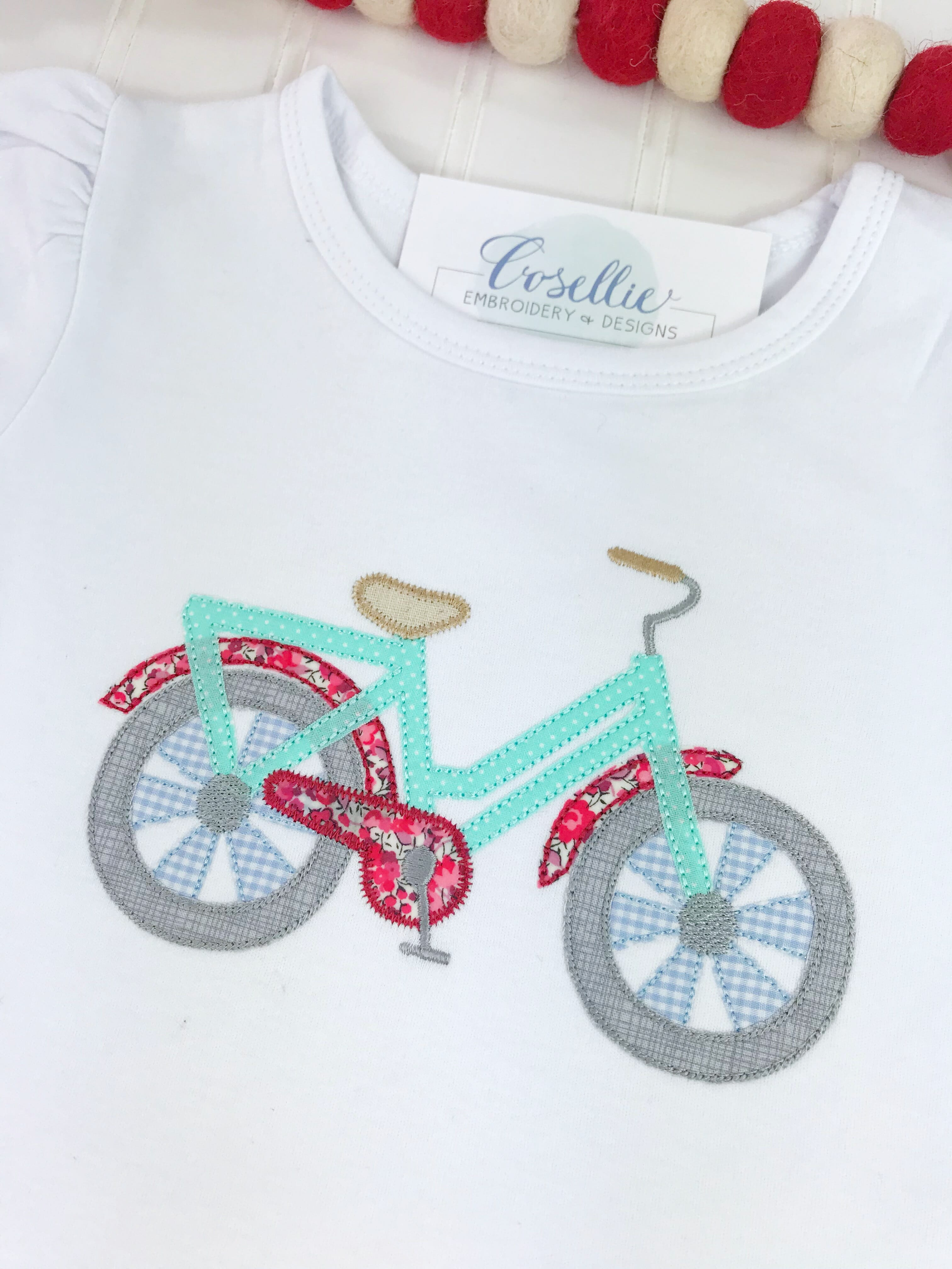 Bicycle Applique Embroidery Design Embroidery Design Cosellie
