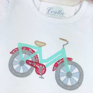 Bicycle girls shirt, Monogrammed bicycle shirt, Summer shirt, Ruffled bicycle, Monogrammed shirt, Ruffled shirt, Monogrammed toddler shirt, Monogrammed girl, Monogrammed boy, Vintage stitch, Applique, Classic applique