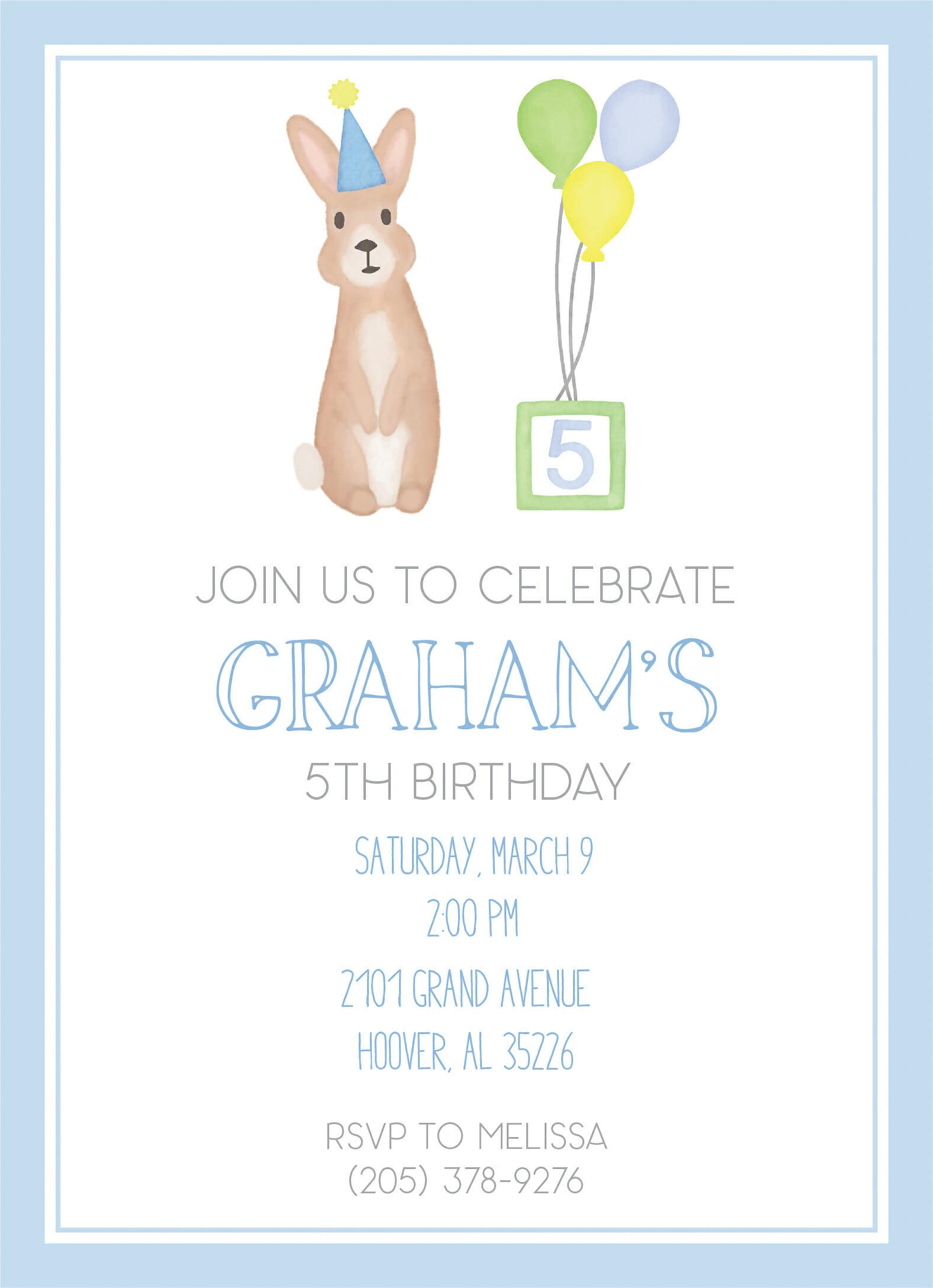 Birthday Bunny Blue Invitation